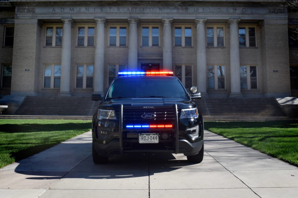 Patrol Vehicle in front of the admin building